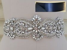 Wedding Belt - Crystal Pearl Wedding Sash Belt = in NAVY satin sash