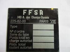 OSCA Fiat 1500 1600 Typenschild Schild FFSA Paris Händlerschild s26