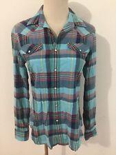 Ralph Lauren Sport Snap-Front Western Shirt Aqua Navy Red Green Yellow Sz 4