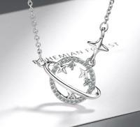 925 Silber Saturn mit Sternen Kette