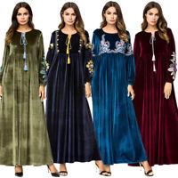 Dubai Kaftan Embroidered Velvet Floral Maxi Dress Muslim Women Abaya Robe Lot