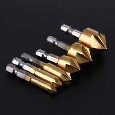 6 x Woodworking Countersink Hex Drill Bit 90° Carbon Steel Wood Drill Shank Tool