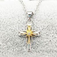 S925Silber Stern Muster Diamant Kreuz Anhänger Halskette Modisch Oben