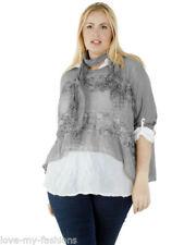 Camisa de mujer de color principal gris 100% algodón