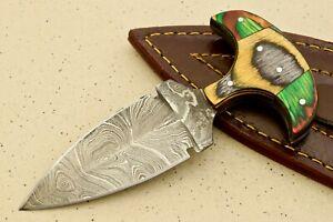 HS COSTOM FIXED DAMASCUSE ART HUNTER SKINNER KNIFE HANDEL-NO # W-2949