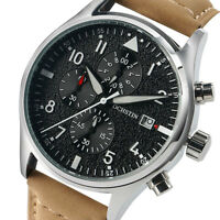 OCHSTIN Luminous Chronograph Quartz Date Genuine Leather Band  Men Wrist Watch