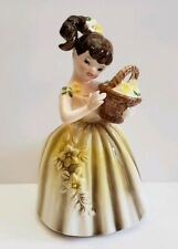 Vintage Enesco Planter #E-4088 Girl With Basket Floral Collectible Clean