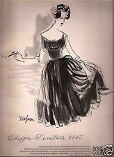50's EM Larson Illustrated Bergdorf Goodman Fashion Ad 1959