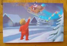 Lighted Christmas Reindeer with Santa and Boy Canvas Vintage Style Too Cool!
