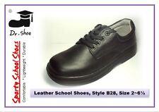 School Shoes Dr.Shoe Black Genuine Leather Boys Girls Laces Junior Sz 2-6.5