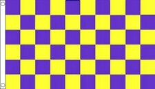 Purple & Yellow Checkered Flag - Large 5 x 3 FT - Checkered Football Sports Race