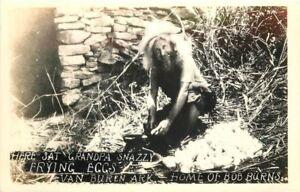 Home Burns Grandpa Snazzy Frying Eggs 1940s Van Buren Arkansas RPPC 2075