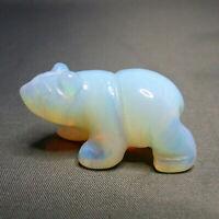Opalite Polar Bear Statue Hand Carved White Gemstone Ornament 4cm
