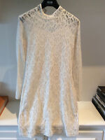 DESIRE Cream Lace Long Sleeves Mini Dress Small uk10 £60