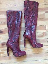 Stiefel Sexy Cool Rot Genarbtes Leder Gr.39 Ital.Design 💝