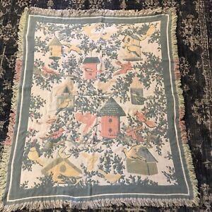 Goodwin Weavers Throw/Blanket 64 X 45 In Birds Birdhouse Scene 100% Cotton USA