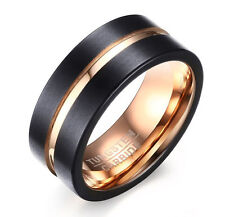 Black Tungsten Carbide Rose Gold Plated Men's 8MM Wedding Band Ring Size 11 M10