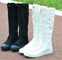 Canvas Sneaker Women Lady Causal Lace Up Low Heel College Knee High Boot Shoes