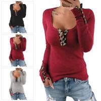 Womens Leopard Button Scoop Neck T Shirt Ladies Long Sleeve Slim Blouse Tops