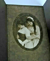 Vintage framed cover gorgeous art nouveau photo of two women touching trifold