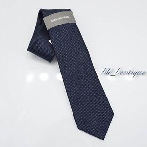 NWT Michael Kors Men's One Size Silk Neck Tie Satin Micro Pindot Midnight Multi