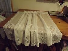 "vintage White Lace Tier Panel 58Wx36"" Floral 3 Panels available"