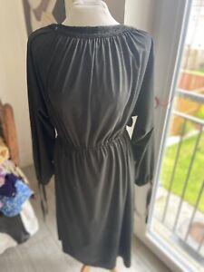 VINTAGE 80'S BLACK LACE TRIM HIPPY BOHO TEA DRESS UK 10 Small