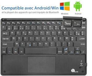 Clavier Bluetooth AZERTY avec Un Ecran Tactile Ultra Mince et Tactile Tablette F
