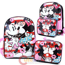 Disney Mickey Minnie Mouse Large Backpack Detachable Insulated Lunch Bag Combo