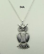 Silver alloy owl pendant necklace, black rhinestone eyes silver-plated chain