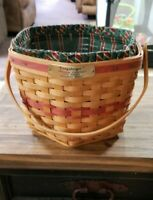 Longaberger 1997 Snowflake Basket Christmas Collection Red Accent Weave