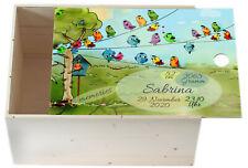 Erinnerungskiste Baby Geschenk Namen Datum Holz Kiste Box Vögel Junge Mädchen
