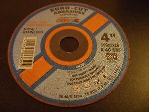 EURO-CUT Steel Metal Extra Thin Cutting Discs 4'' 100mm x 16mm x 1mm