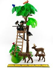 PLAYMOBIL~Hunter~Deer~Stag~Doe~Fawn~Tree~Blind~Riffle~Animal~Birds~Hunting~Crow