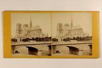 Francia Parigi Cattedrale Notre-Dame c1870 La Senna Foto Stereo Vintage Albumina