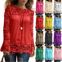 Women Long Sleeve Casual Loose Shirt Lace Blouse Ladies Top Tees Shirt Pullovers