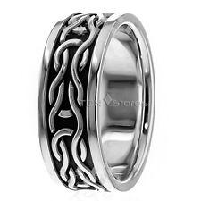 Celtic Wedding Band 10K Gold 8.5mm Mens Celtic Wedding Ring Bands 10K Gold Black