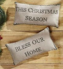 """Bless Our Home Christmas Pillow Set of 2 Cream Green 100% Cotton Shell 7"""" x 13"""""""