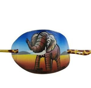 African Handpainted Elephant Leather Hair Barrett Clip 02