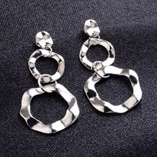 Vintage Women Geometric Hammered Ear Stud Circle Drop Dangle Metal Earrings Gift