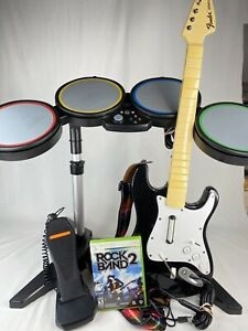 Xbox 360 Rock Band BUNDLE Tested Wired Drums Mic Guitar Controller Game Lot
