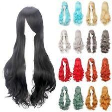UK 80cm Long Curly Women Girl Anime Cosplay Wavy Hair Wig