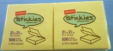 "STAPLES BRAND POST IT STICKIES NOTE PAD 3""X 3"" 1200 YELLOW  NOTES NEW"