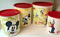 Vtg Set of 4 Tupperware Disney One Touch Canisters Mickey Mouse Red White Green