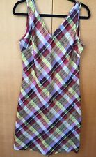 Esprit Women's Bright Plaid Silk Sleeveless Summer Sun Dress US Sz 9/10 NWT