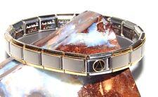 Alcoholics Anonymous AA Symbol Gold Plate Enamel Italian Charm Bracelet 19 Link