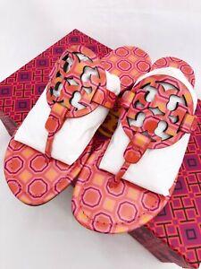 Tory Burch Miller Sandals Flip Flop Orange Coral Pink 7 7.5 8 8.5 10