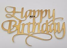 HAPPY BIRTHDAY CAKE PICK TOPPER NEW DECORATION  ROSE GOLD  CALLIGRAPHY