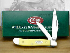Case xx Peanut Knife Smooth Yellow Delrin Handle Stainless Pocket Knives 80030