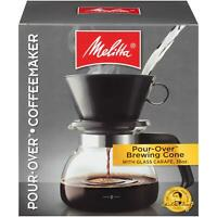 Melitta (640446) 6-Cup Pour-Over Coffee Brewer w/ Glass Carafe 6 Cup Black New